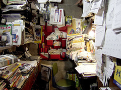 cluttered office small