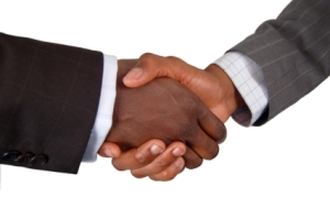 This is an image of two business hands performing a handshake.